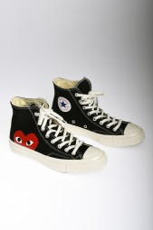 COMME DES GARCONS Play Converse Chuck Taylor All Star black high sneakers