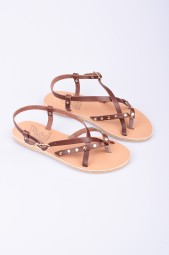 "ANCIENT GREEK SANDALS chestnut leather sandals ""Semele nails"""