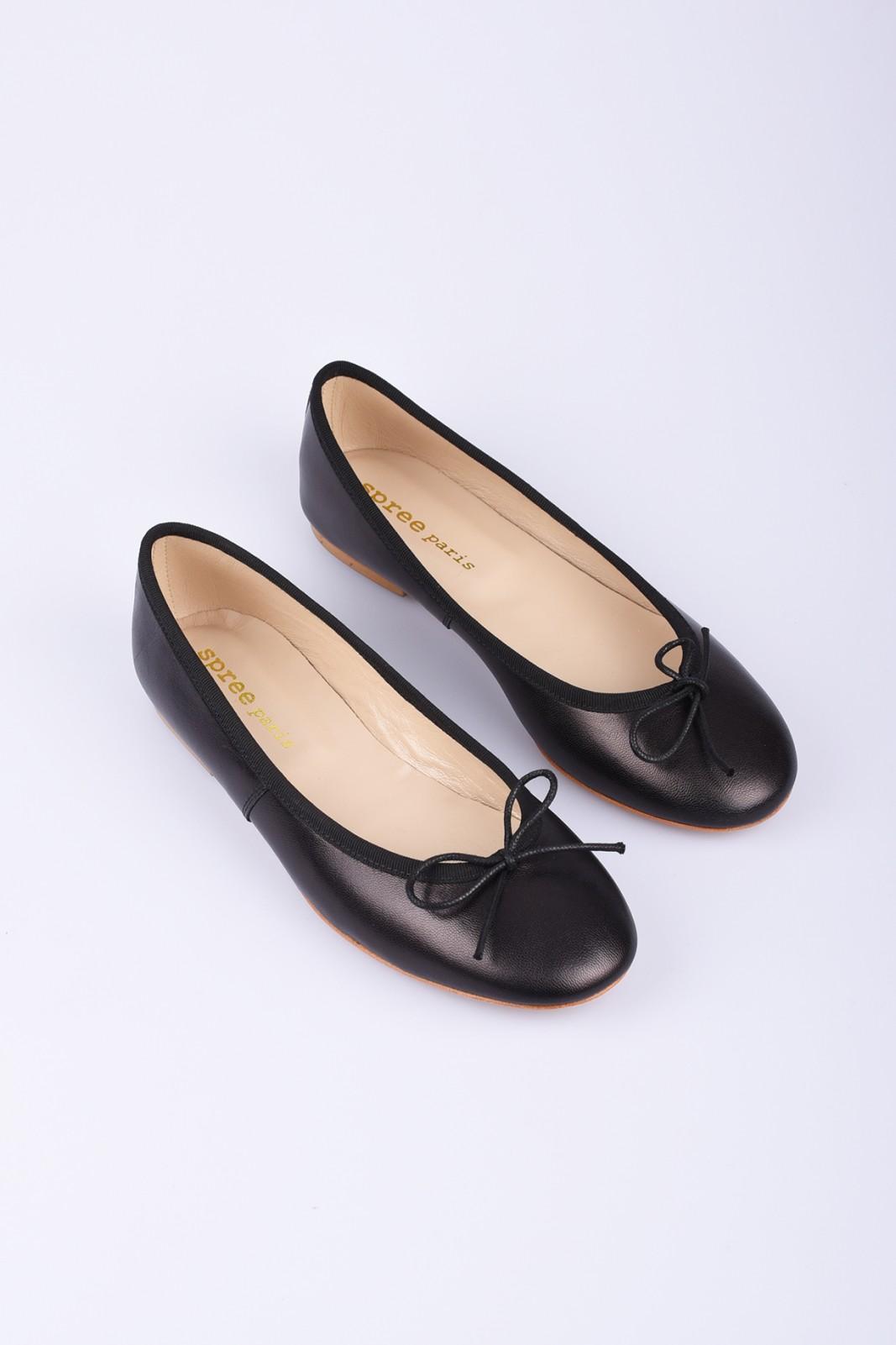 SPREE black leather ballerinas