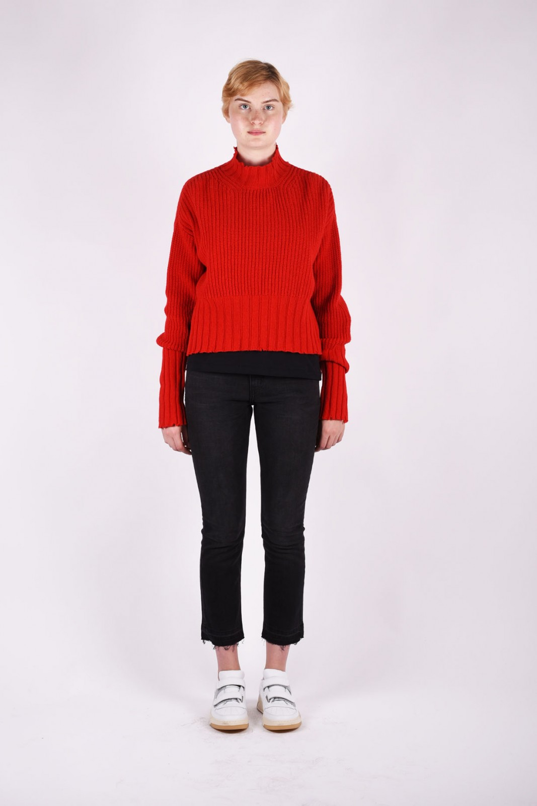 MSGM distressed wool-blend sweater