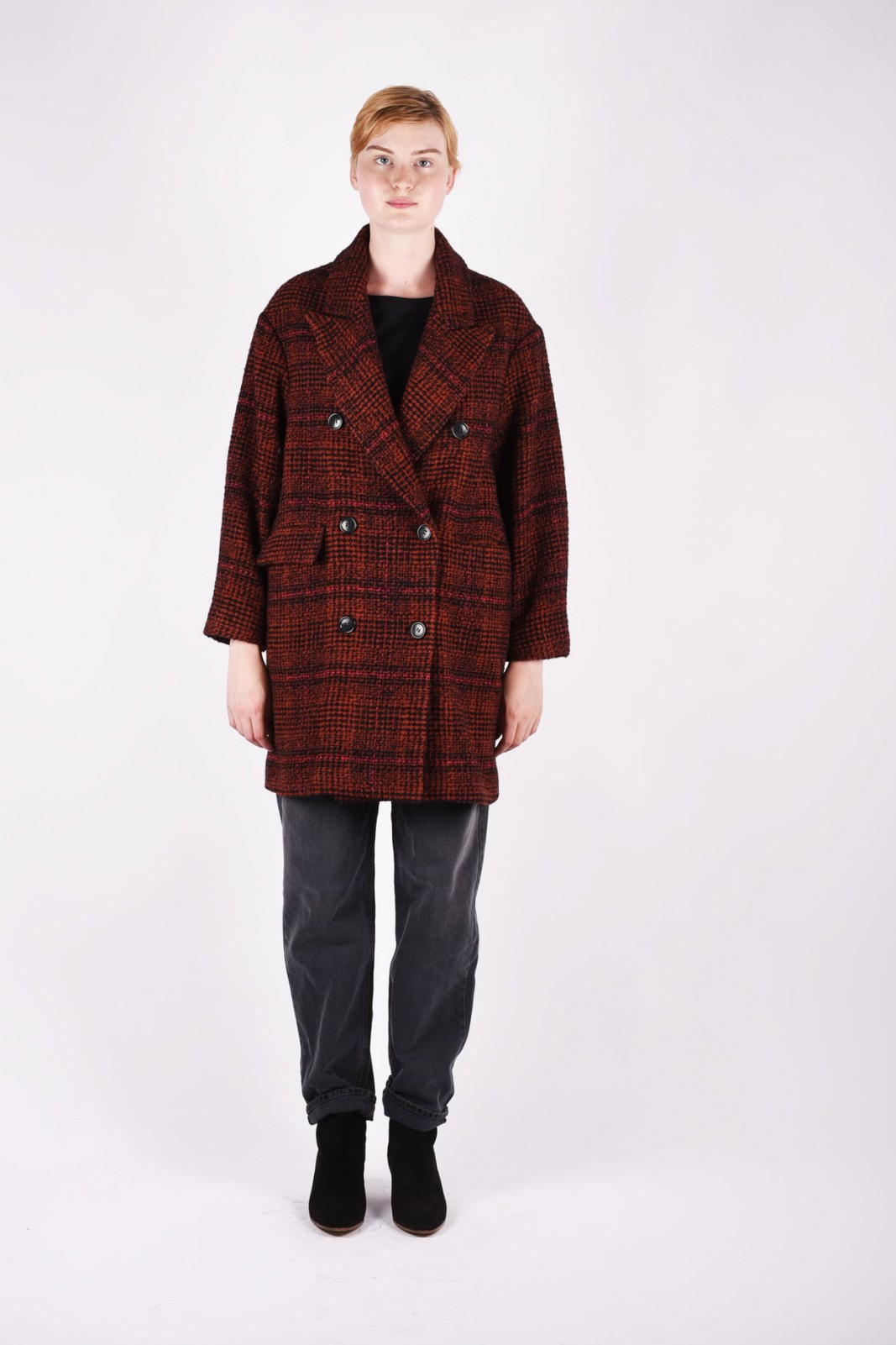 ISABEL MARANT ÉTOILE Ebra plaid wool-blend coat